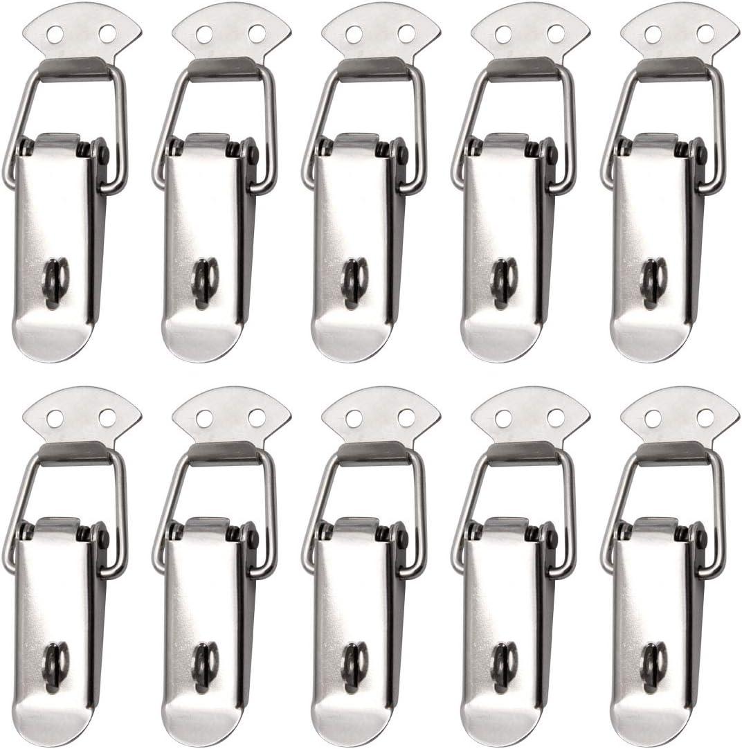 10 St/ück Spannverschluss Edelstahl Hebelverschluss Kappenschloss Kistenverschluss 55 mm Abschlie/ßbar Haspe Einstellbare f/ür Case Box Schrank Truhe Schublade Toolbox