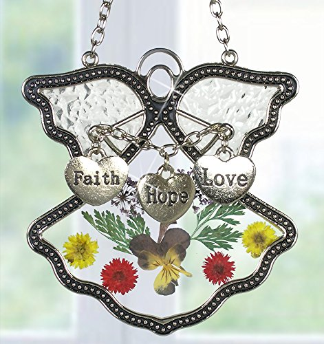Faith Hope Love Angel Suncatcher Silver Metal and Glass with Pressed Flower Wings & Three Hanging Heart Shaped Charms - 3.5 Inch