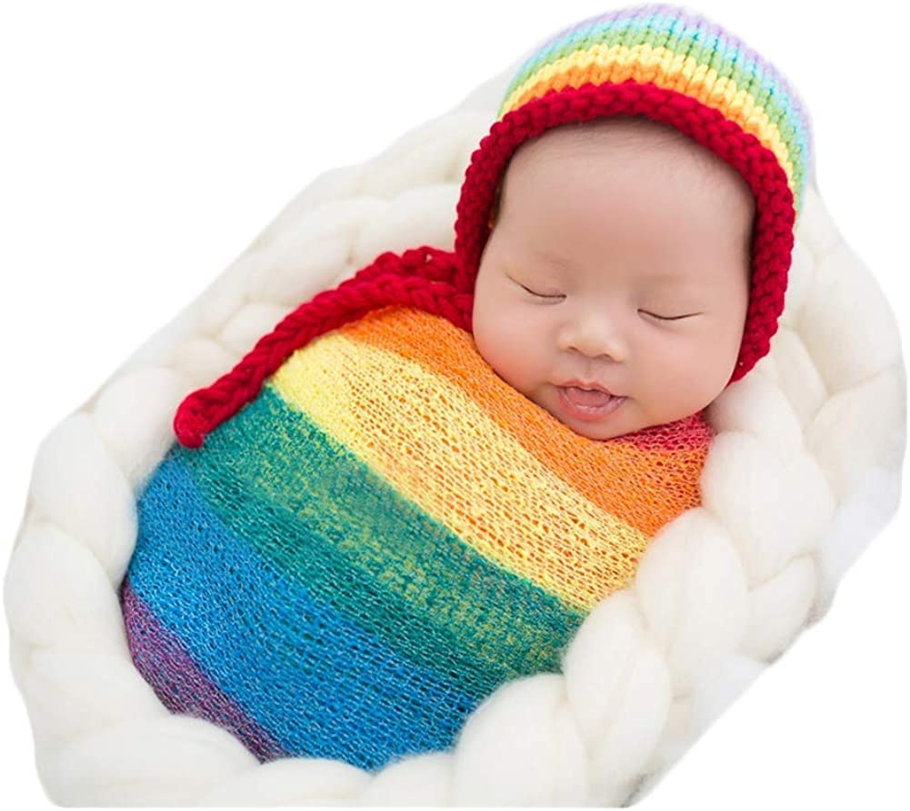 Newborn Boy Girl Baby Photography Props Outfits Photo Shoot Rainbow Hat and Long Ripple Wrap Set