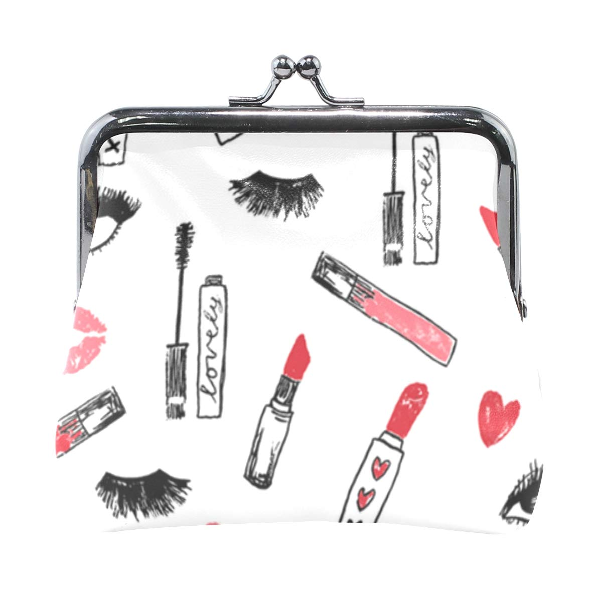 Makeup Lipstick Eyelashes Beauty Coin Purse Buckle Vintage PU Pouch Kiss-lock Wallet for Women Girl