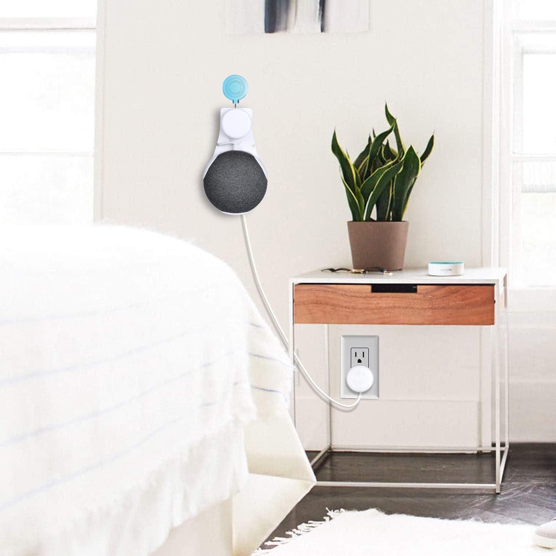 XZANTE pour Google Home Support Mural Mini Voice Assistant Suspension Murale Compacte Support dans La Cuisine Salle de Bains Chambre /à Coucher Blanc