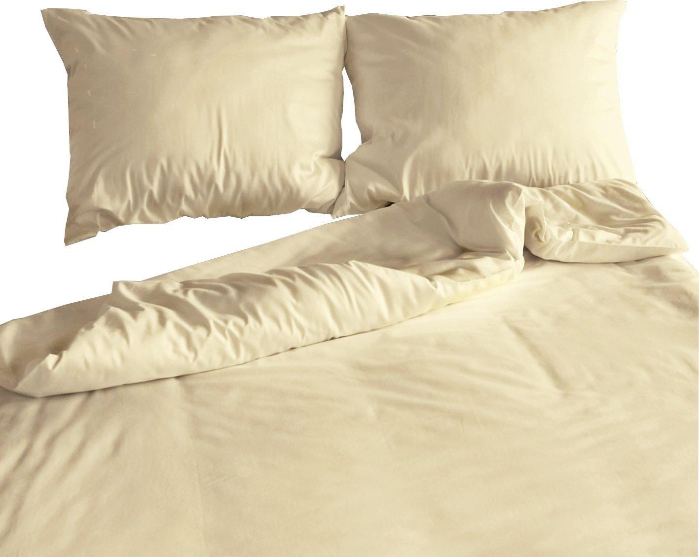 Carpe Sonno Elegante Mako-Satin Hotelbettwäsche 240 x 220 cm Creme aus 100% Baumwolle für besten Schlafkomfort – Bettwäsche Set mit Kopfkissen-Bezug und Mako Satin Hotel-Bettwäsche