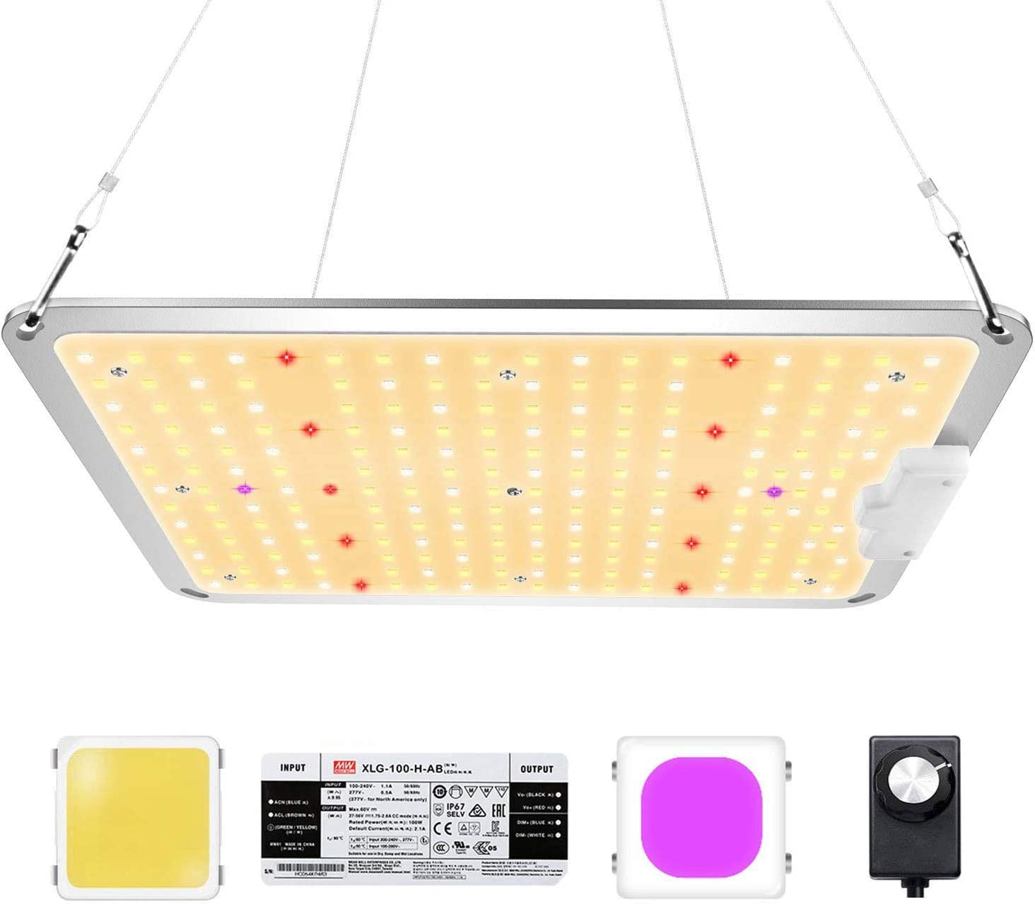 Zannaki ZK-1000 LED Grow Light, LM301B Doides MeanWell Driver, Sun Spectrum Plants Lamp with Upgraded Dimmer Control UV LEDs for Indoor Veg Flower Growing