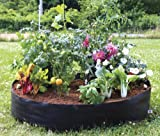 "Raised Garden Bed- Circular Fabric –Portable – 50""Diameter x 12"" High- Fabric material lets roots breathe & provides drainage-Unfold, Fill, and Grow! Made in USA"