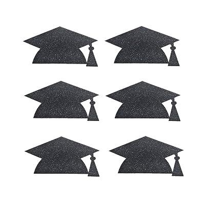 Amosfun 10pcs Graduation Cap Hat Stickers La Fiesta de graduación favorece Las Decoraciones (Negro): Juguetes y juegos