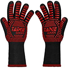 Oven Mitts Heat Resistant BBQ Gloves – Best Silicone Cooking & Grilling Accessories – Extreme Hot 932 Degrees Hand & Forearm Protection, Red