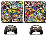 Cosines PS4 Slim Stickers Vinyl Decal Protective Console Skins Cover for Sony Playstation 4 Slim and 2 Controllers Bombing