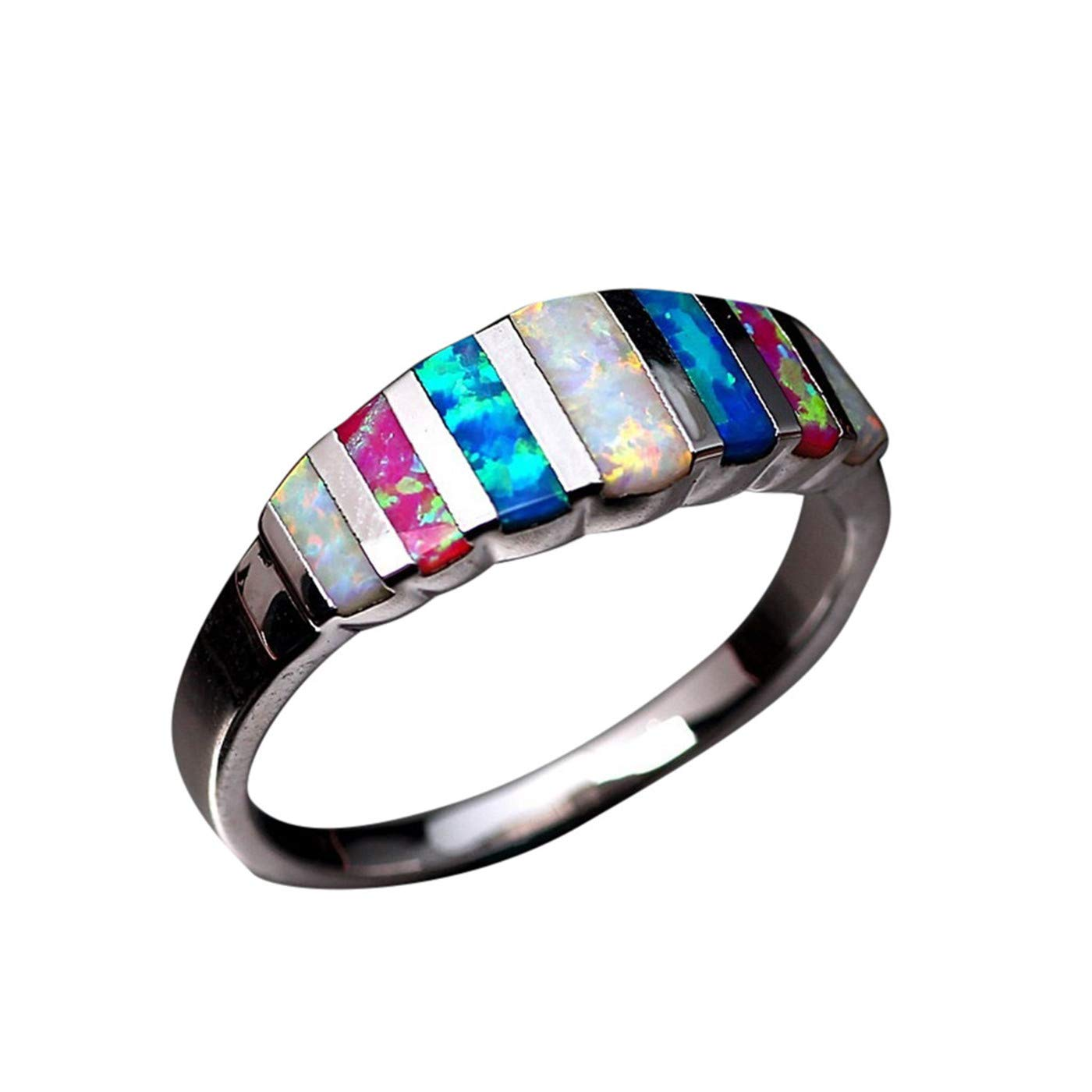 HUAMING New Womens Inlaid Natural Colorful Stone Opel Ring Opal Ring Lucky in Love Wedding Band Engagement Ring Perfect Clothing Match (Multicolor, 5)
