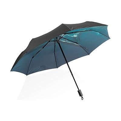 LEEZONE Inner Great Shark Printing Triple Folding Sun-Proof Umbrella