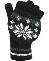 Ladies luxury fairisle mitten cap gloves