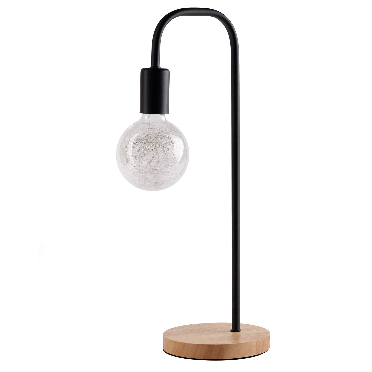 Modern Wrought Iron Night Lamp,Table lamp for Bedroom,Dinning Room,Minimalism Sytle Canvas Shade Desk Lamps - No Shade,LED Lighting,UL Listed,Wood Base