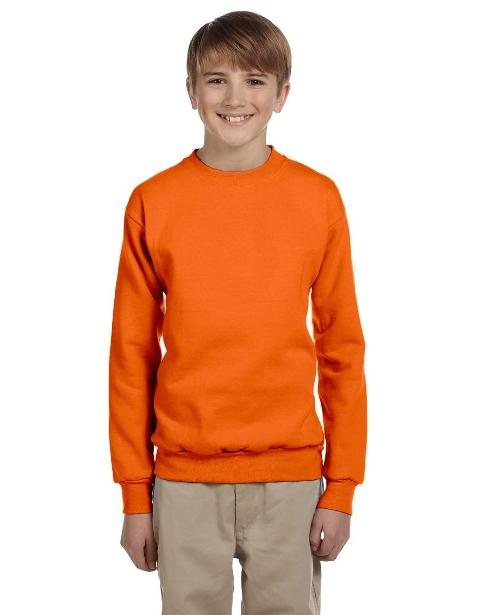 Hanes Youth ComfortBlend EcoSmart Crewneck Sweatshirt, Orange, Size-M P360