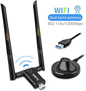 Wireless USB WiFi Adapter, Aigital 1200Mbps WiFi Dongle With USB3.0 Stand Base Dual Band High Gain Dual 5dBi Antennas Network LAN Card Dongle WiFi USB 3.0 for Desktop Laptop,Supports Windows 10/8/7/XP