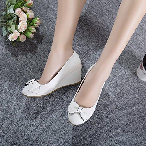 YE Damen Keilabsatz Pumps High Heels mit Schleife und Absatz 6cm Elegant Schuhe Weiß