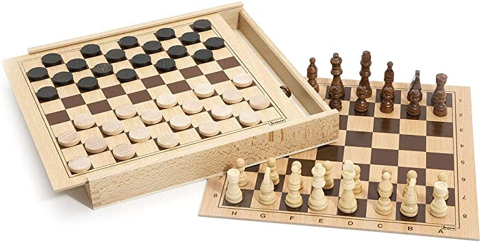 Jeujura 8133 - Juego de Damas y ajedrez, Caja de Madera ...