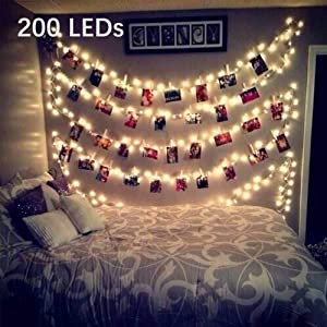Twinkle Lights,33ft 200LED Fairy Lights with Remote USB Powered,Decorative Lights for Boho Decor Aesthetic Room Decor Cute Things for Teen Girls,Warm White