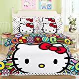 CASA 100% Cotton Brushed Kids Bedding Girls Hello Kitty Duvet Cover Set & Flat sheet,4 Piece,King