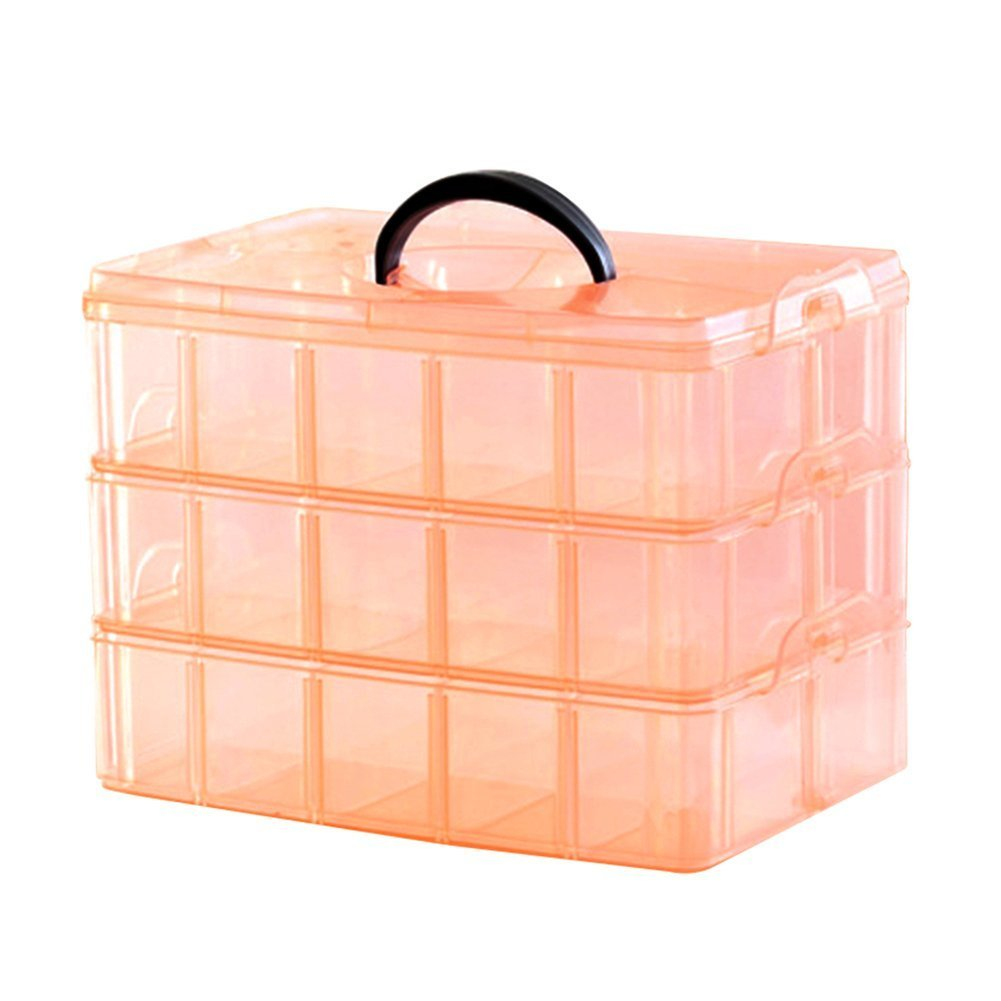 Kamay's Extra Large 3 Tier Stackable Adjustable Compartment Slot Bead Craft Jewellery Tool Storage Organiser Snap-lock Tray Container, with 30 Compartments, Container Box,Orange
