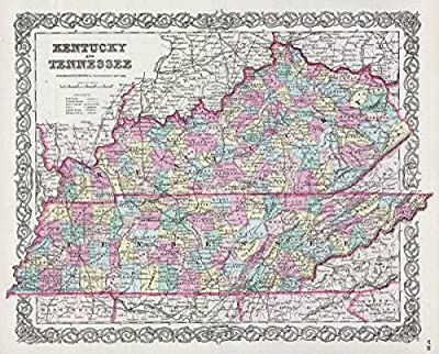 Historical 1856 Colton Map of Kentucky and Tennessee |16 x 20 Fine Art Print | Antique Vintage Map
