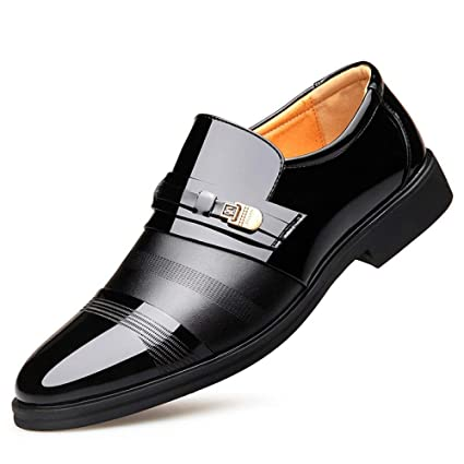 Eeayyygch Zapatos de Cuero de los Hombres Modelos de explosión Manual de Gran tamaño Caballo Negro