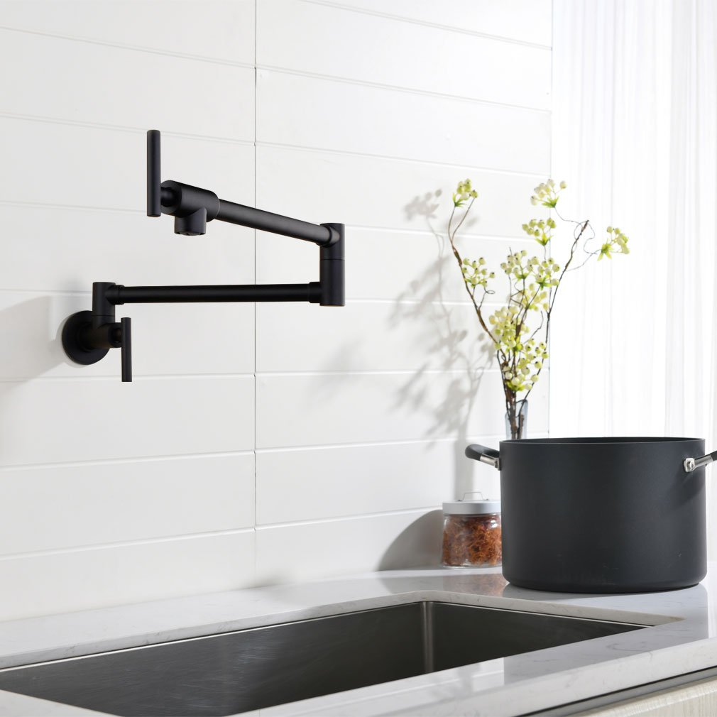 Pot Filler Double Joint Spout Folding Stretchable Swing Arm Wall Mounted Brass Kitchen Faucet, Single Hole Two Handle Kitchen Sink Faucet Matte Black,PHASAT,71211B by PHASAT (Image #3)