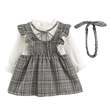 41e2d83b3511 Toddler Kid Baby Girl Long Sleeve Stripe Bow Party Princess Dress+Headbands  Set Children Long