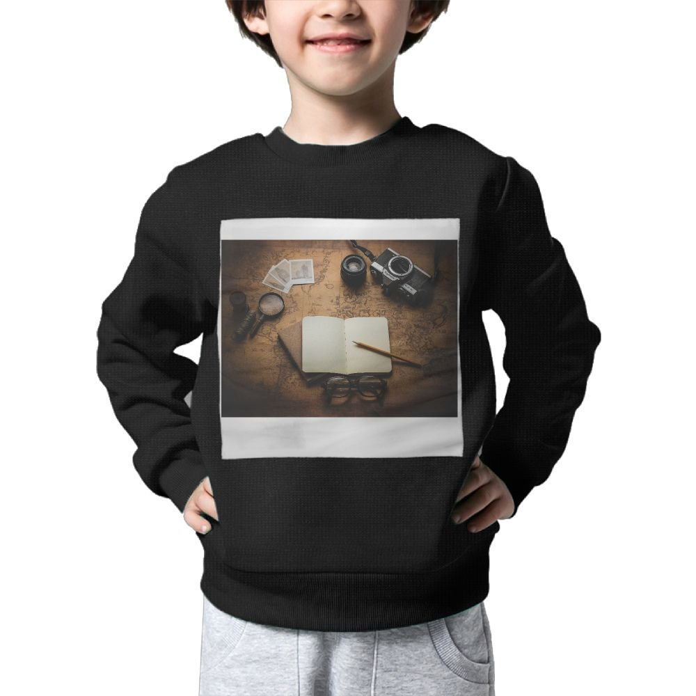 HuuiDDa Camera Journal Travel Kids Circle Neck Sweater Print For Boys Or Girls