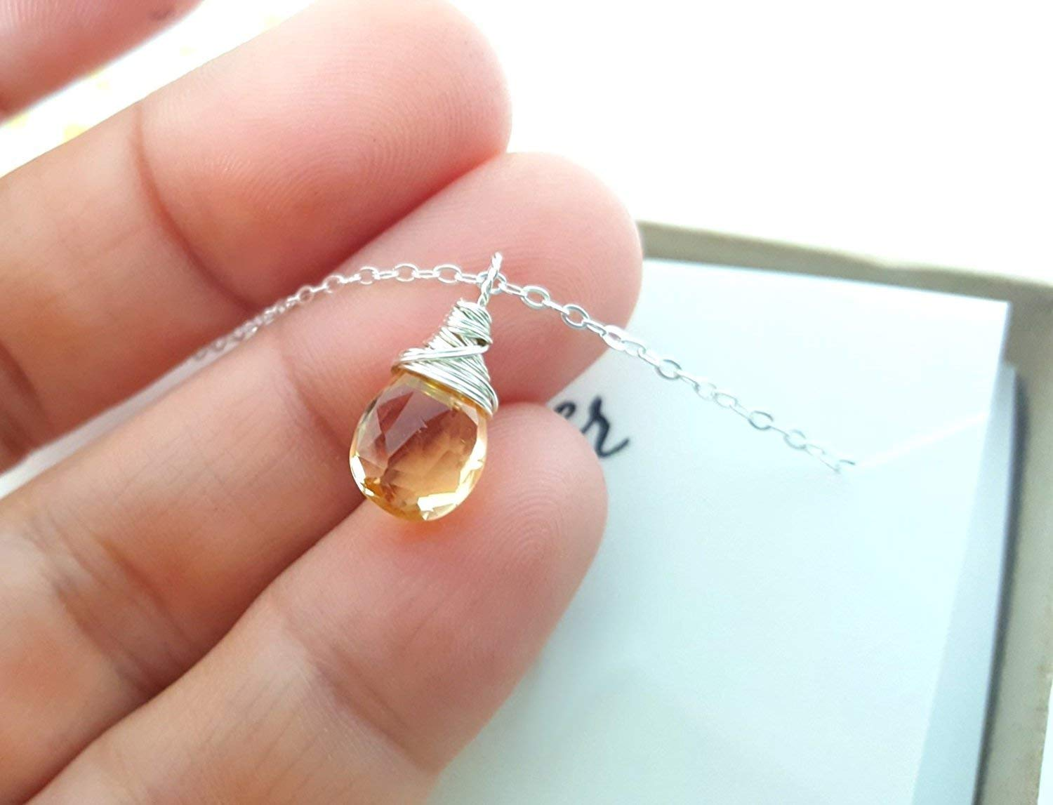 November Birthstone Yellow Citrine Necklace Sterling Silver Briolette Teardrop Jewelry Gift for Her