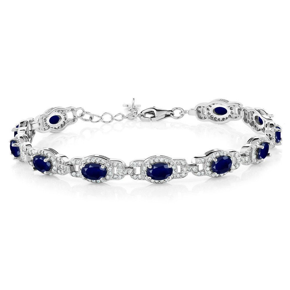 Gem Stone King 925 Sterling Silver Blue Sapphire Women's Tennis Bracelet, 9.65 Cttw, Gemstone Birthstone, 7 Inch with 1 Inch Extender by Gem Stone King