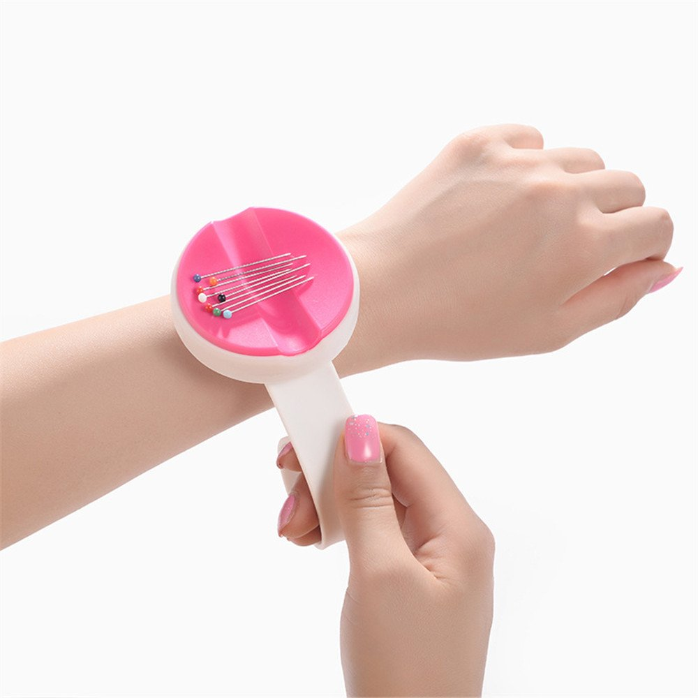 YEQIN NEW Magnetic Wrist Pin Holder 'Wrist Pinny' Slap Band 5 Vibrant Colours available (Rose red)