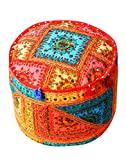 Embroidered Indian Mirror Work Ottoman Pouf Cover Home Décor Living Room Foot Stool Chair Cotton Floor Pillows Vintage Cushion Cover by Rajrang