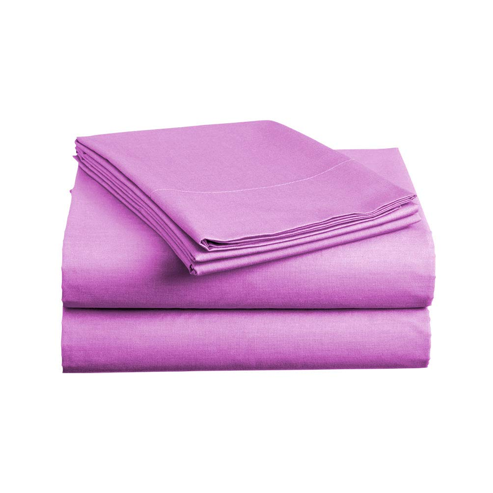 Luxe Bedding Sets - Microfiber King Size Sheets Set 4 Piece, Pillow Cases, Deep Pocket Fitted Sheet, Flat Sheet Set King - Purple