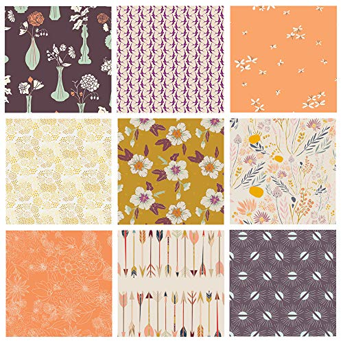 Boho Floral Quilt Bundle | Artsy Fabrics for Quilting | Autumn Vibes by Maureen Cracknell | Morning Walk by Leah Duncan | Modern Floral Fat Quarters | Art Gallery Fabrics ()
