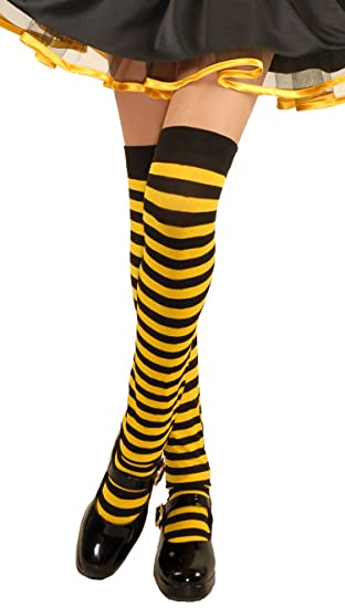93d496fce58 Amazon.com  Kids Black Yellow Over The Knee Striped Stockings  Toys ...