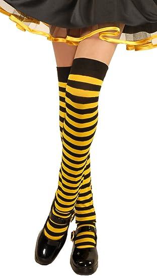 bd331ceb0f8f4 Amazon.com: Kids Black/Yellow Over The Knee Striped Stockings: Toys ...