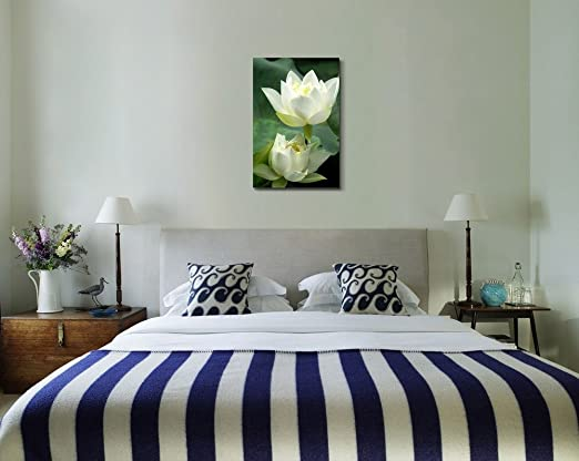 Canvas Prints Wall Art - White Lotus Flower and Green Lotus Leaf | Modern Wall Decor/ Home Decor Stretched Gallery Wraps Giclee Print & Wood Framed. Ready to Hang - 24