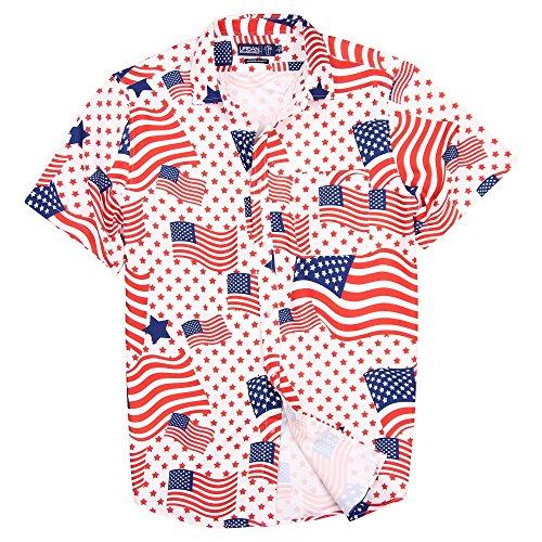 - Urban Boundaries Men's Lightweight Short Sleeve American Flag Beach Pineapple Shirts (American Flag, Regular Fit: Medium)