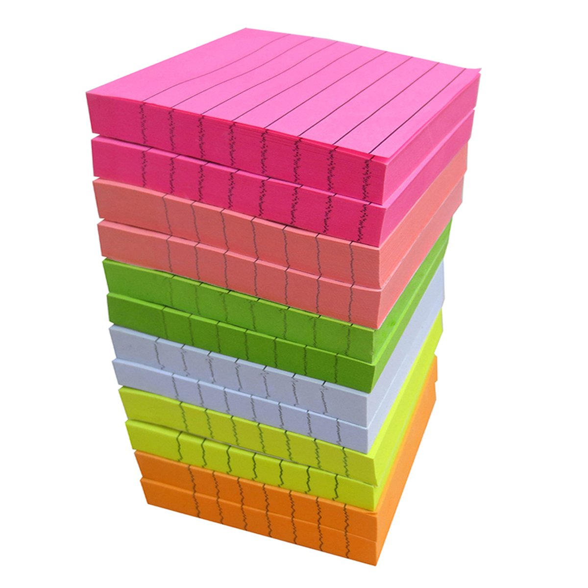 Creatiburg Sticky Note Pads Lined 12 Pads 100 Sheets/Pad 3x3 inches 6 Bright Colors Self-Stick Notes with Lines Easy Post Individually Wrapped and Carton Packaging Red Pink Green White Yellow Orange