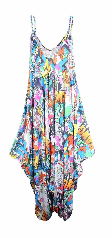 SugerDiva Womens ladies printed strappy jumpsuit/ lagenlook baggy jumpsuit