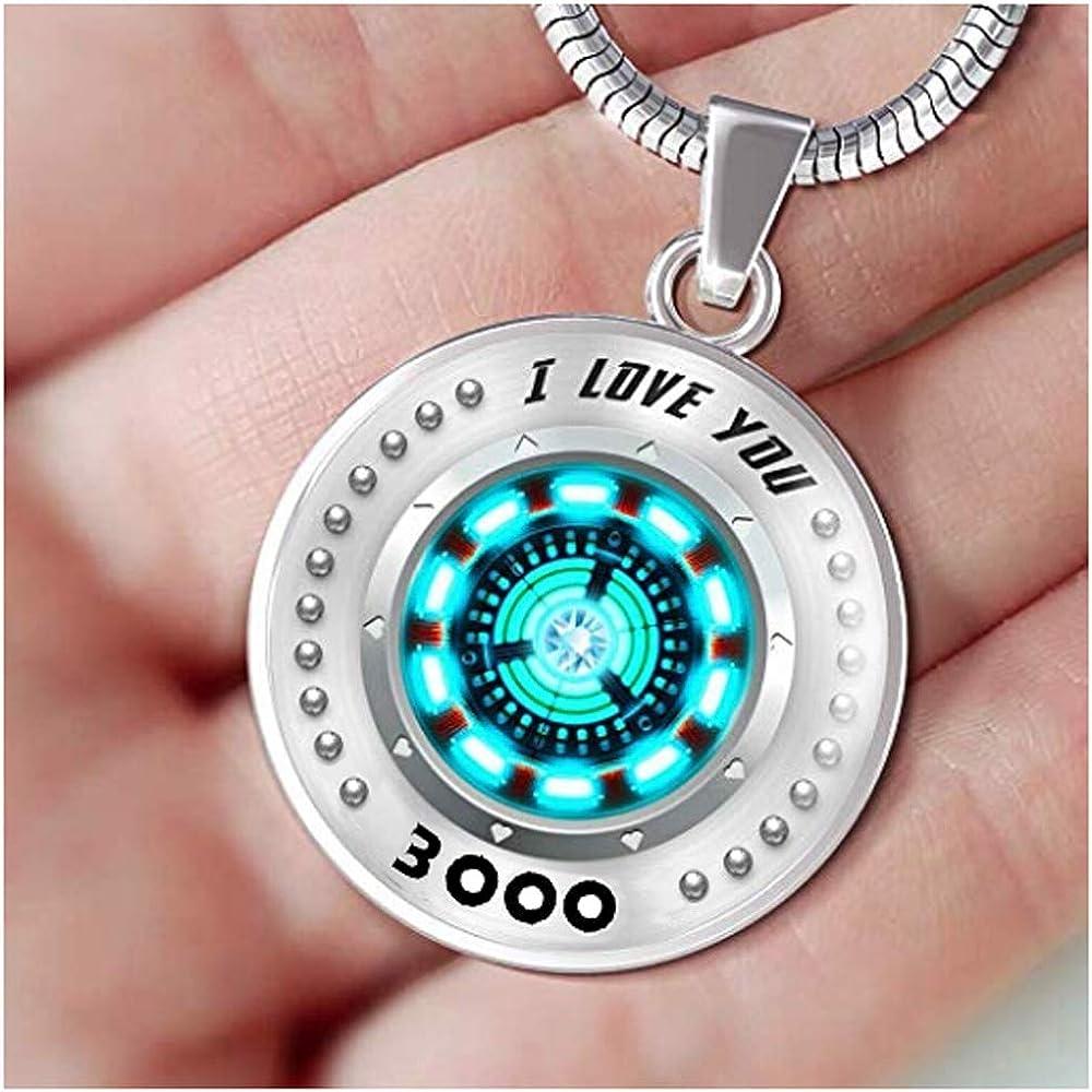 I Love You 3000 Necklace for Men Women - Iron Man Necklace, Tony Stark Arc Reactor Pendant (Blue) | Amazon.com