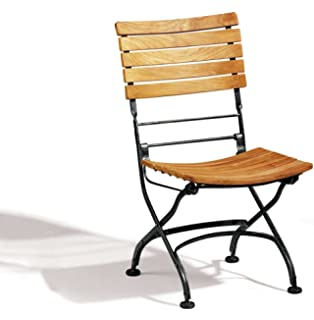 jati french folding café chair teak and galvanised steel café arm