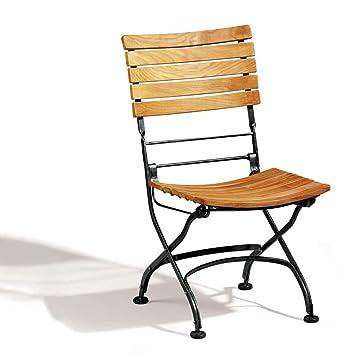 French Café Side Chair - Deluxe Galvanised Model in A-Grade Teak - Jati  Brand