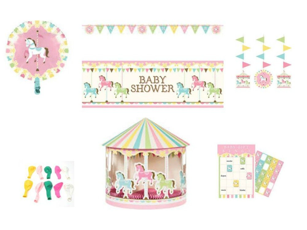 Party Supplies Decorations, Baby Shower, Carousel Themed Baby (Banners, Balloons, Centerpiece, Hanging Cut-Outs, Photo Props) 6-Piece Bundle