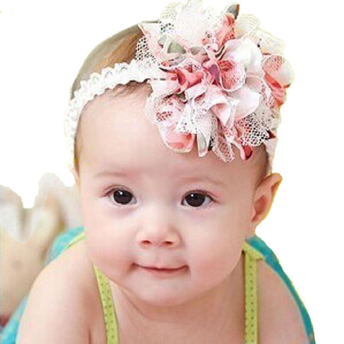 Amazon.com  Susenstone Baby Flower Headband Girl Lace Infant Hair Weave Baby  Accessories  Baby ceba561fd93