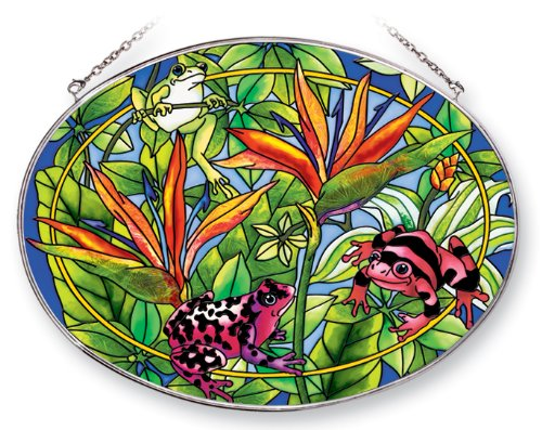 Amia Oval Suncatcher with Frog Design, Hand Painted Glass, 6-1/2-Inch by 9-Inch