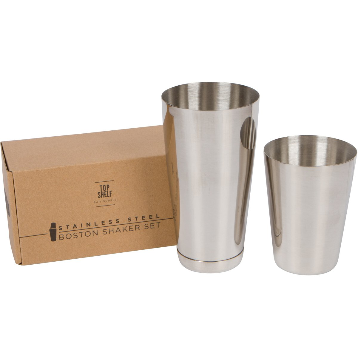 Stainless Steel Boston Shaker: 2-piece Set: 18oz Unweighted & 28oz Weighted Professional Bartender Cocktail Shaker by Top Shelf Bar Supply (Image #9)