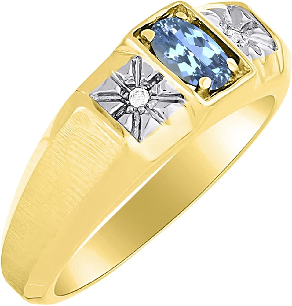 Birthstone Ring Sterling Silver or Yellow Gold Plated Silver Blue Topaz /& Diamond Ring