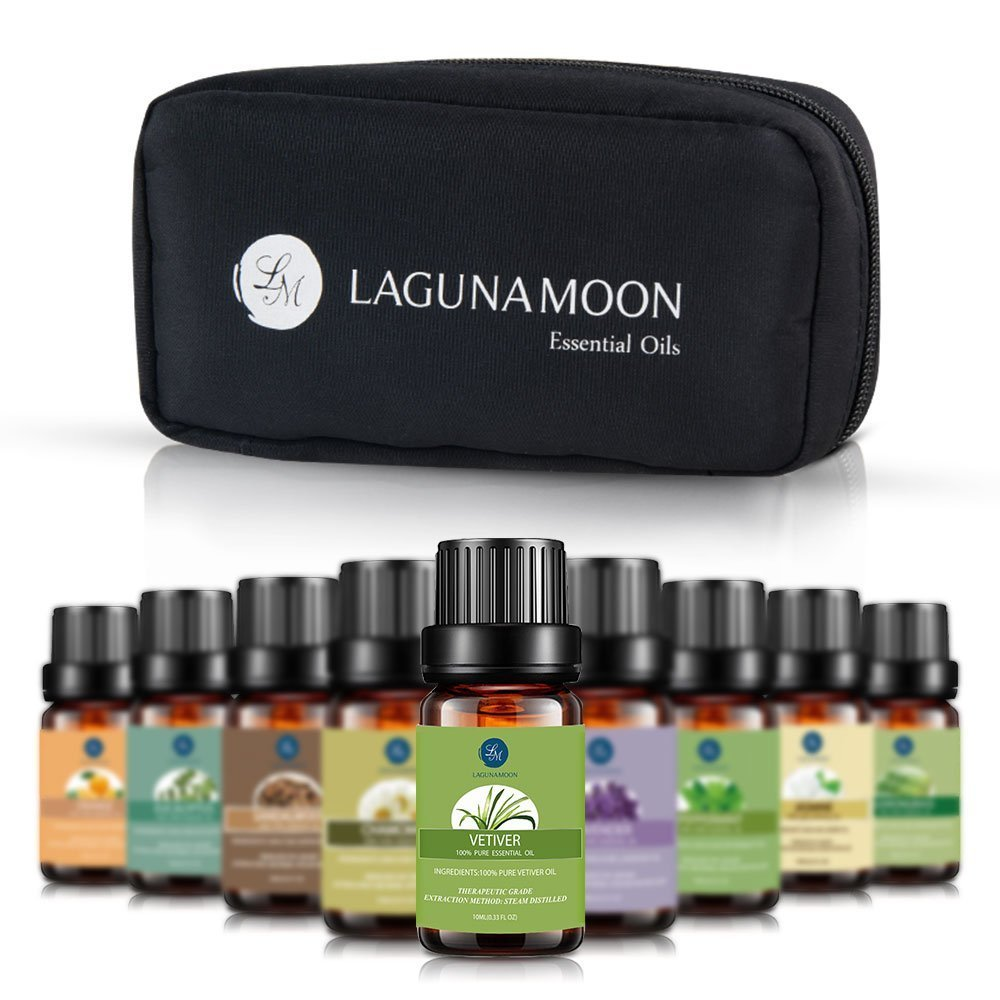 Lagunamoon Essential Oils with Travel Bag,Pure Aromatherapy Oils Tea Tree Lavender Peppermint Eucalyptus Sandalwood Lemongrass Orange Chamomile Jasmine Vetiver,Therapeutic Grade