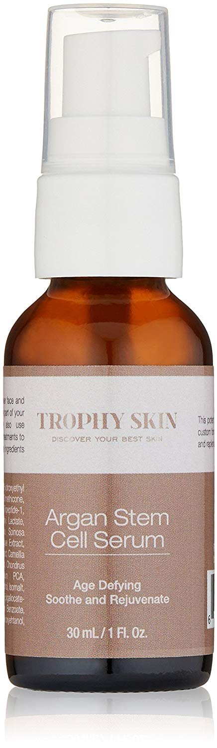 Argan Stem Cell Serum by Trophy Skin, 1 oz – Best Anti Aging Skin Care Product Containing Argan Plant Stem Cells, Hyaluronic Acid, Copper Peptides, and Green Tea Extract. 30 Day Money Back Guarantee TSAS01