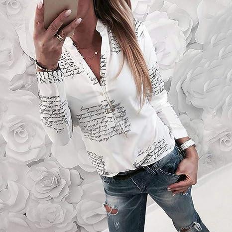1e7717816 SRYSHKR Women V Neck Letters Printing Button Long Sleeve T-Shirt Tops  Blouse at Amazon Women's Clothing store: